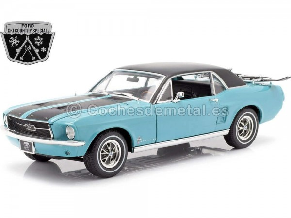 """1967 Ford Mustang """"Ski Country Special"""" Turquesa 1:18 Greenlight 13535 Cochesdemetal.es"""