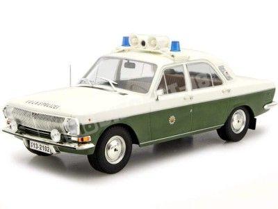"1985 Wolga M24-10 ""Volks Polizei"" Blanco-Verde 1:18 MC Group 18015 Cochesdemetal.es"