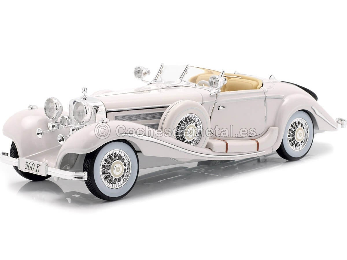 1936 Mercedes-Benz 500K TYP Specialroadster Blanco Perla 1:18 Maisto 36055 Cochesdemetal.es