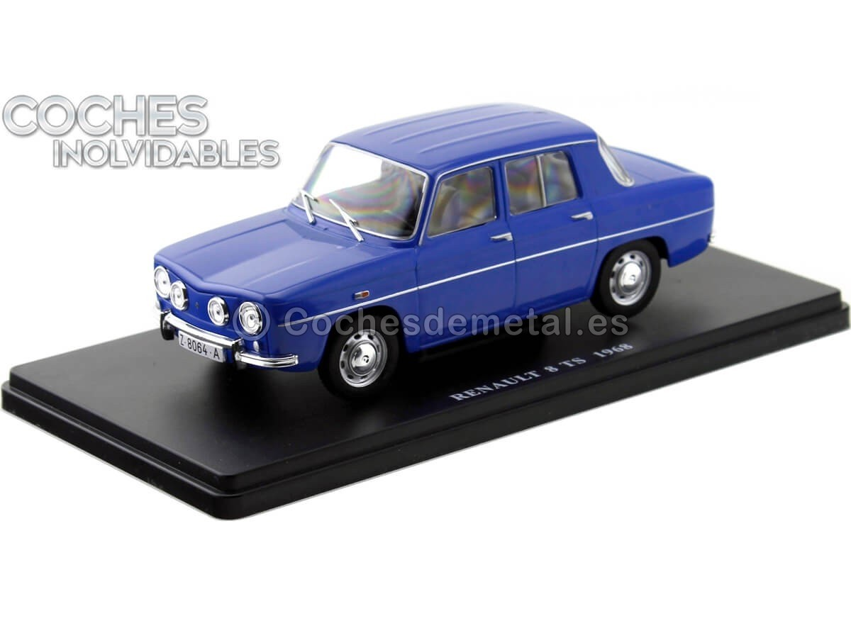 "1968 Renault 8 R8 TS Azul ""Coches Inolvidables"" 1:24 Editorial Salvat ES02 Cochesdemetal.es"