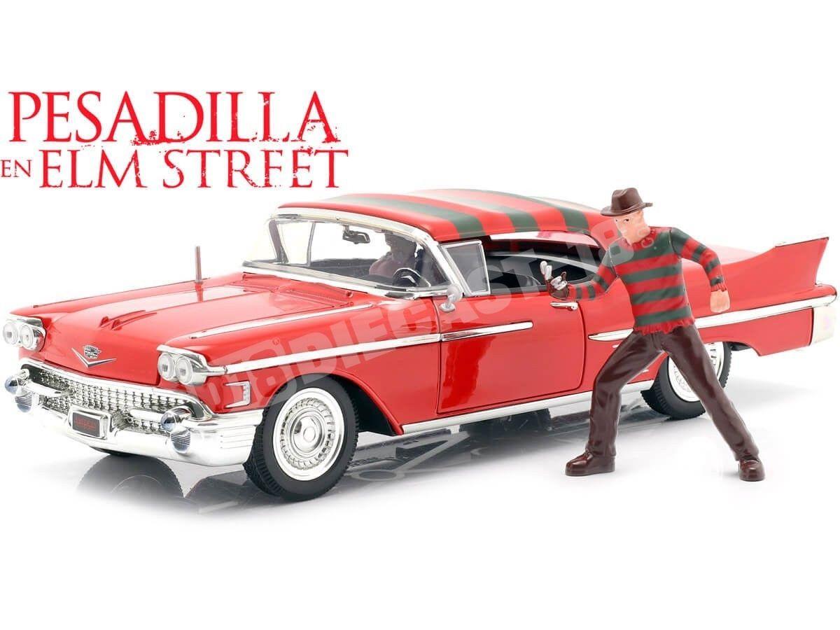 "1958 Cadillac Series 62 ""Pesadilla en Helm Street"" + Freddy Krueger 1:24 Jada Toys 31102 Cochesdemetal.es"