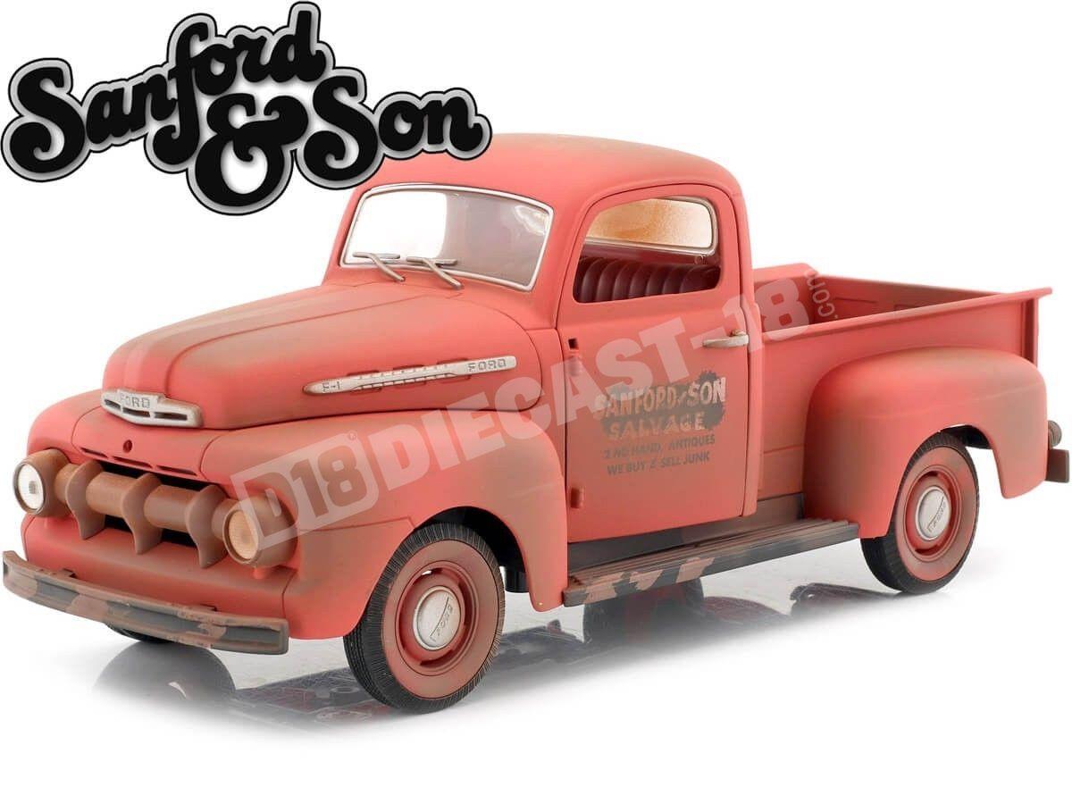 "1952 Ford F-1 Truck ""Sanford & Son"" Orange 1:18 Greenlight 12997 Cochesdemetal.es"