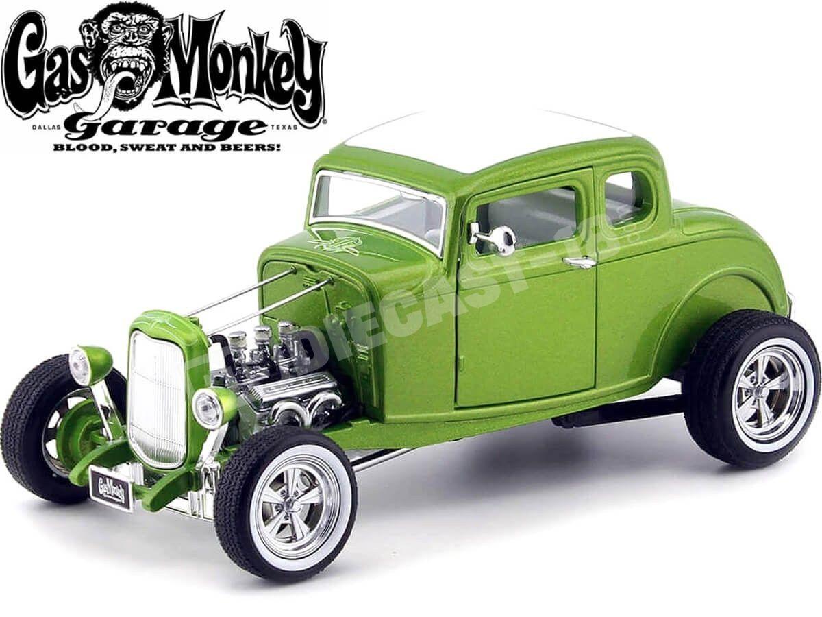 """1932 Ford Hot Rod Custom """"Gas Monkey Garage"""" Metallic Green 1:18 Greenlight 12974 Cochesdemetal.es"""