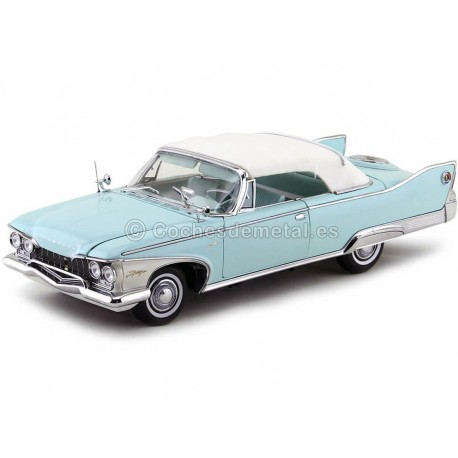 1960 Plymouth Fury Closed Convertible White-Aqua 1:18 Sun Star 5411 Cochesdemetal.es