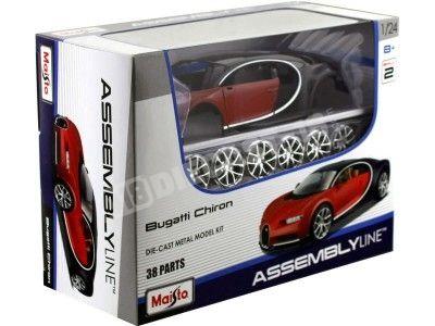 "2016 Bugatti Chiron Rojo-Negro ""Metal Kit"" 1:24 Maisto 39514 Cochesdemetal.es"