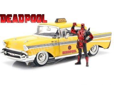 1957 Chevrolet Bel Air TAXI + Figura de Deadpool 1:24 Jada Toys 30290 Cochesdemetal.es
