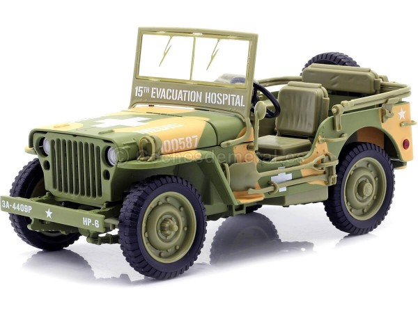 1941 Jeep Willys 4x4 MB Medical US Army Verde Camuflaje 1:18 Auto World AWML005A Cochesdemetal.es
