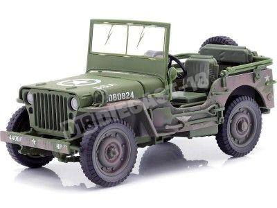 1941 Jeep Willys 4x4 MB US Army Verde Oliva Sucio 1:18 Auto World AWML005B Cochesdemetal.es