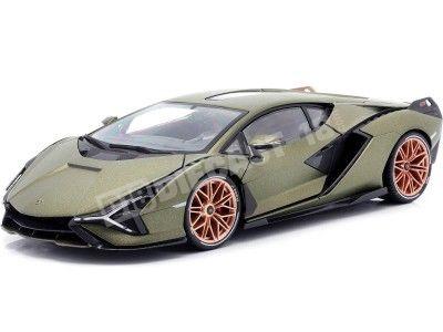2019 Lamborghini Sian FKP 37 Verde Oliva 1:18 Bburago 11046 Cochesdemetal.es