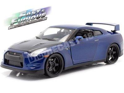 """2015 Nissan GT-R (R35) """"Fast & Furious 7"""" Dark Blue 1:24 Jada Toys 97036 Cochesdemetal.es"""