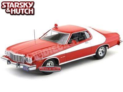 "1974 Ford Gran Torino ""Starsky & Hutch"" Rojo-Blanco 1:18 Greenlight 19017 Cochesdemetal.es"
