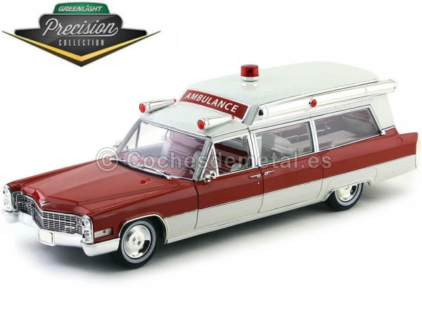 1966 Cadillac S-S 48 High Top Ambulance Red and White 1:18 GreenLight Precision Collection PC18003 Cochesdemetal.es