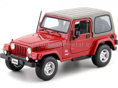 2000 Jeep Wrangler Sahara Rojo Metalizado 1:18 Bburago 12014 Cochesdemetal.es