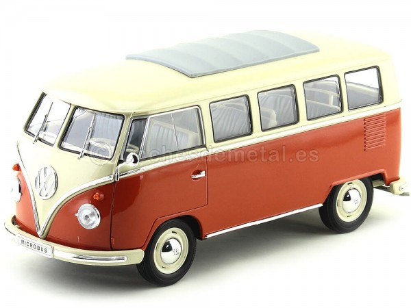 1962 Volkswagen T1 Classical Microbus Rojo-Blanco 1:18 Welly 12531 Cochesdemetal.es