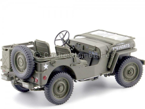 1942 Jeep Willys 1-4 Ton Army Truck Abierto Verde Caqui 1:18 Welly 18055