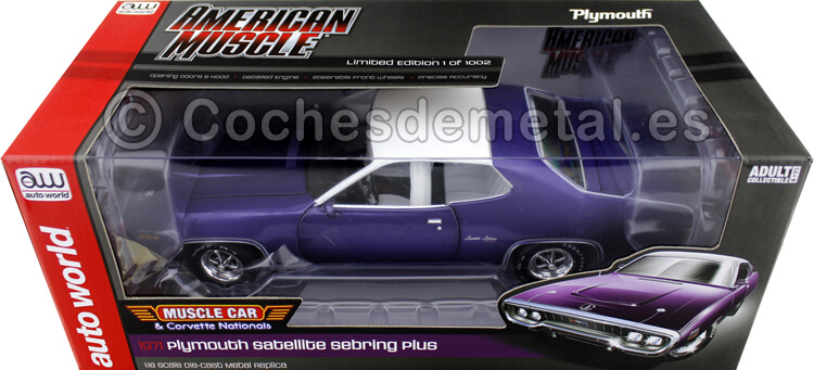 1971 Plymouth Satellite Sebring Plus Violeta 1:18 Auto World AMM1146