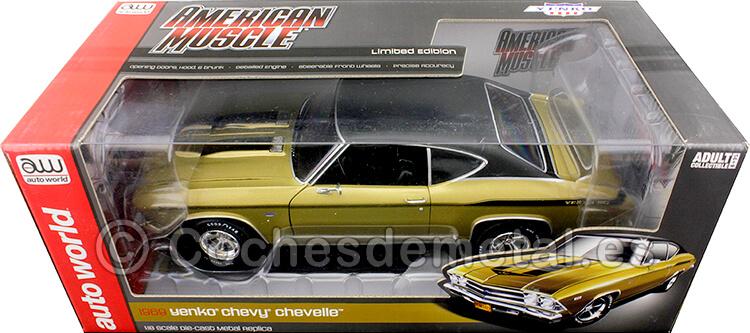 1969 Chevrolet Chevelle HT Yenko Oro/Negro 1:18 Auto World AMM1206