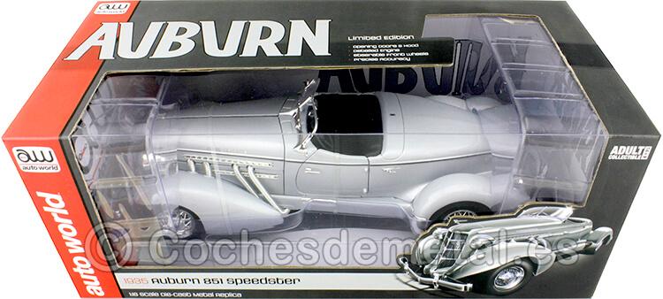 1935 Auburn 851 Speedster Gris Metalizado 1:18 Auto World AW268