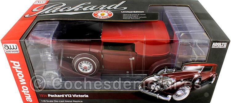 1934 Packard V12 Victoria Soft Top Rojo 1:18 Auto World AW271