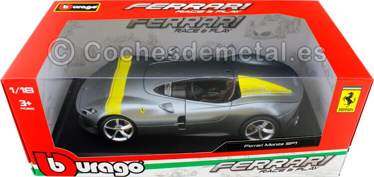 2019 Ferrari Monza SP1 Barchetta Monoposto Gris Plata 1:18 Bburago Race Play 16013