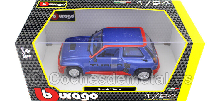 1982 Renault 5 R5 Turbo Blue/Red 1:24 Bburago 21088BR