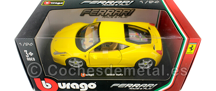 2010 Ferrari 458 Italia Amarillo 1:24 Bburago 18-26003
