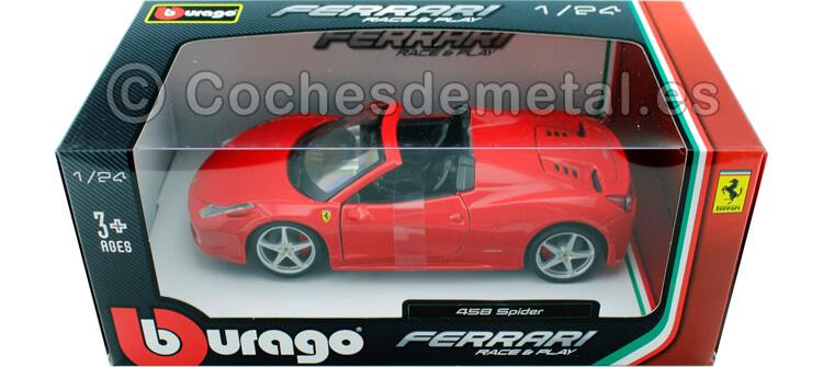 2011 Ferrari 458 Italia Spider Rojo 1:24 Bburago 18-26017