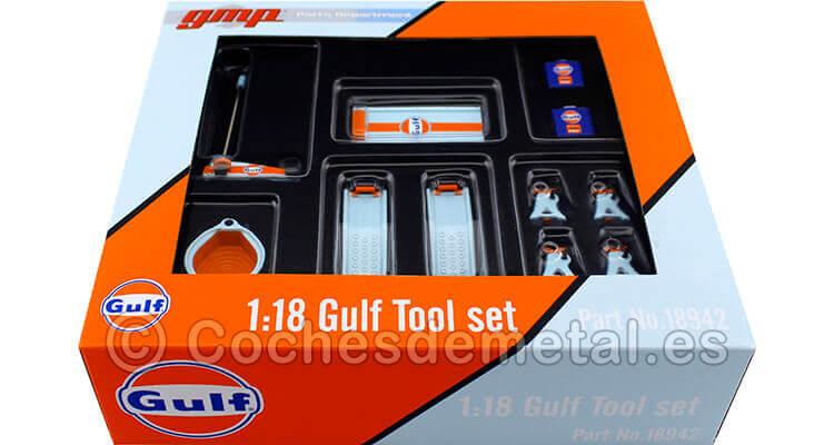 Set de Accesorios para Garage Gulf Azul/Naranja 1:18 ACME GMP 18942