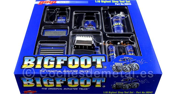 Set de Accesorios para Garage BigFoot Azul 1:18 ACME GMP 18943