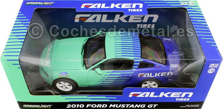 2010 Ford Mustang GT Falken Tires Azul/Verde 1:18 Greenlight 13552
