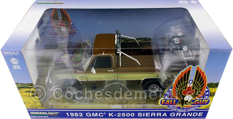 1982 GMC K-2500 Sierra Grande Wideside Fall Guy Marrón/Oro 1:18 Greenlight 13560