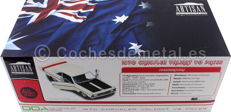 1970 Chrysler Valiant VG Alpine White (RHD) 1:18 Greenlight 18006/DDA006