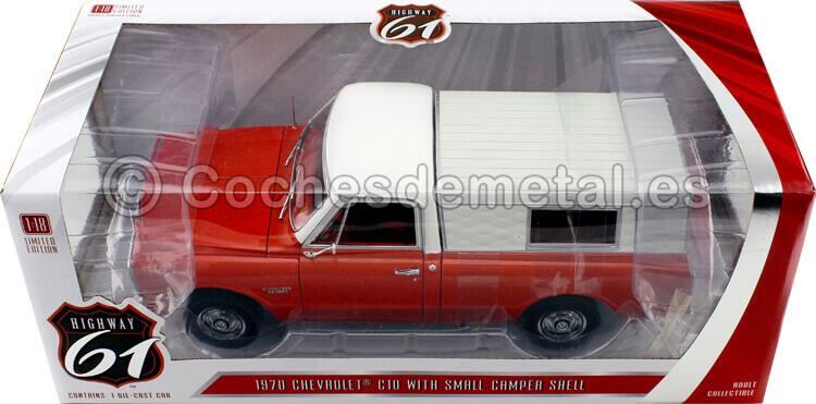 1970 Chevrolet C-10 pick-up + Camper Shell Red/Beige 1:18 Highway-61 18004