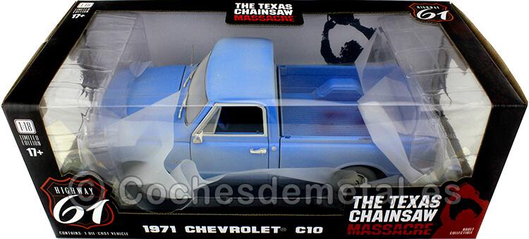 1974 Chevrolet C-10 La Matanza de Texas Azul Efecto Sucio 1:18 Highway-61 18014