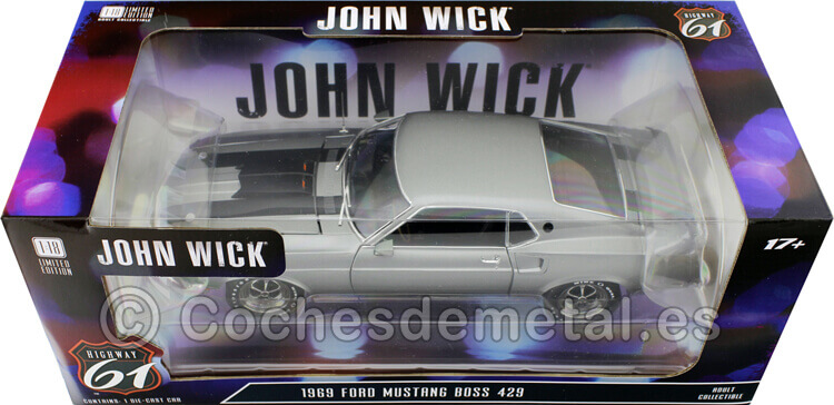 1969 Ford Mustang Boss 429 John Wick Grey/Black 1:18 Highway-61 18016