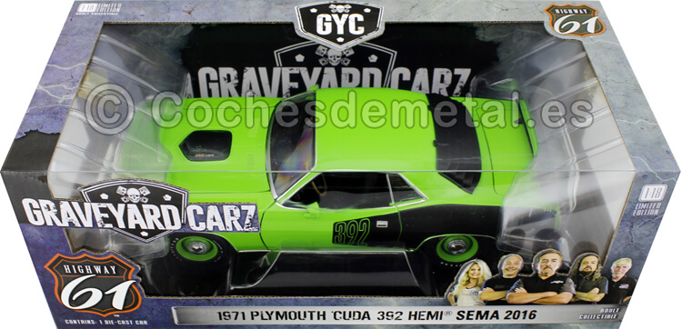 1971 Plymouth Cuda 392 Hemi Sema TV series Graveyard Carz 2012 Green 1:18 Highway-61 18017
