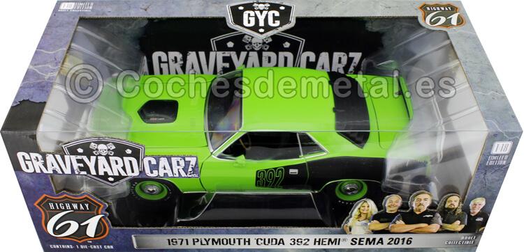 1971 Plymouth Cuda 392 Hemi Sema TV series Graveyard Carz 2012 Green 1:18 Highway-61 18017