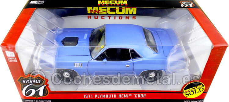 1971 Plymouth HEMI Cuda Mecum Auctions Metallic Blue 1:18 Highway-61 18025