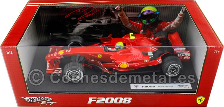 2008 Ferrari F2008 Felipe Massa Rojo Cereza 1:18 Hot Wheels M0549