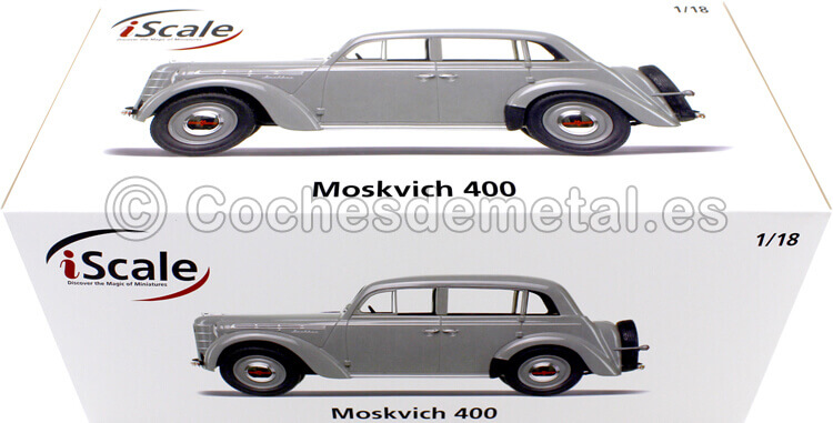 1946 Moskvich 400 Gris 1:18 iScale 118000000015