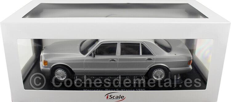 1985 Mercedes-Benz 560 SEL Clase S Facelift (W126) Plata/Gris 1:18 iScale 118000000059