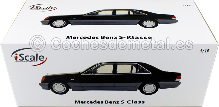 1994 Mercedes-Benz S500 (W140) Gris Oscuro 1:18 iScale 118000000486