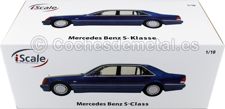 1994 Mercedes-Benz S500 (W140) Azul Gris 1:18 iScale 11800000049