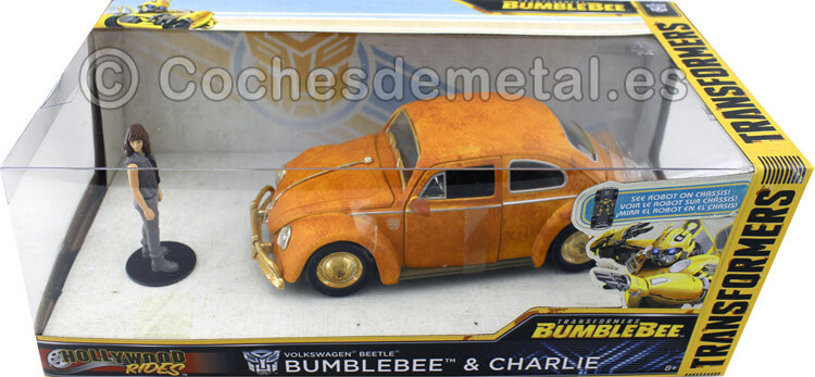 1967 Volkswagen Beetle + Figura Charlie Bumblebee 1:24 Jada Toys 30114