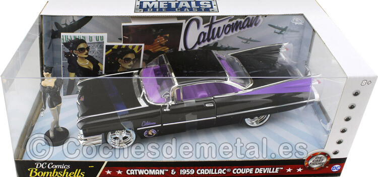 1959 Cadillac Coupe Deville + Figura Catwoman 1:24 Jada Toys 30458