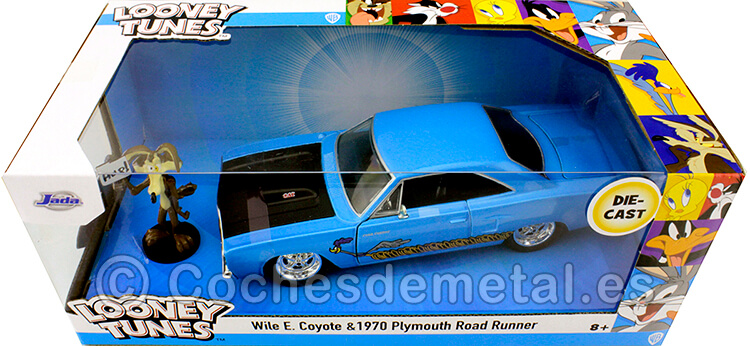 1970 Plymouth Road Runner + Wile E. Coyote Looney Tunes Azul/Negro 1:24 Jada Toys 32038