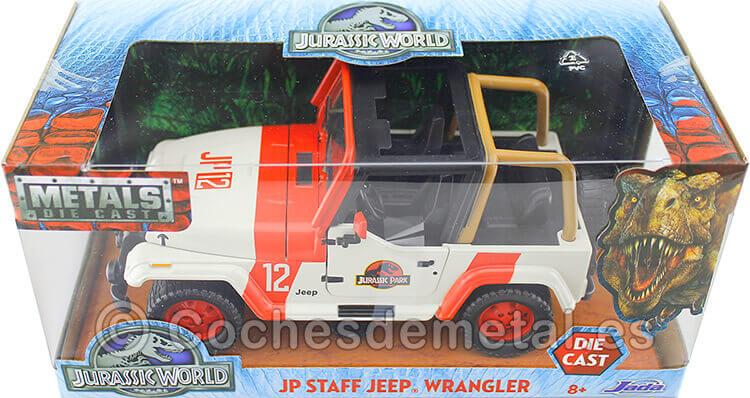 1992 Jeep Wrangler Jurassic World White/Red 1:24 Jada Toys 97806