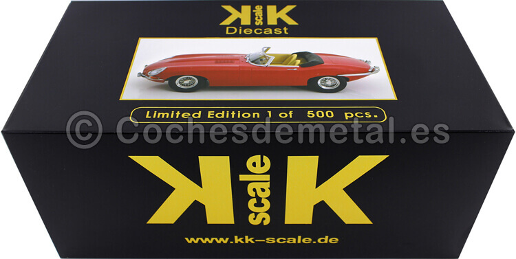 1961 Jaguar E-Type Cabriolet Closed Top Series 1 RHD Rojo 1:18 KK-Scale 180482