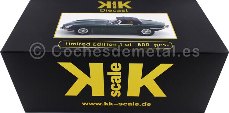 1961 Jaguar E-Type Cabriolet Closed Top Series 1 RHD Verde Ingles 1:18 KK-Scale 180483