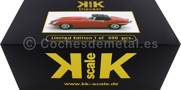 1961 Jaguar E-Type Cabriolet Closed Top Series 1 LHD Rojo 1:18 KK-Scale 180484